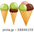 アイスクリーム ジェラート コーンのイラスト 38846159
