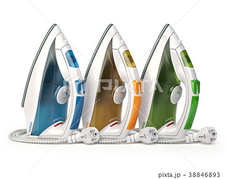 Steam irons isolated on white background. 38846893