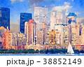 ニューヨークマンハッタンの水彩画 38852149