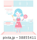 キッチンで料理の準備をする主婦 38855411