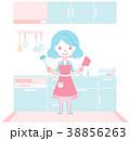 キッチンで料理の準備をする主婦 38856263