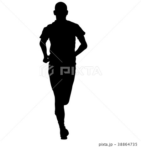Black Silhouettes Runners sprint men on white  38864735