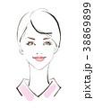 女性の顔正面 ショートヘア 38869899
