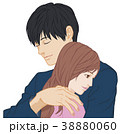 ハグ 片手 男性 目閉 女性 目開 38880060