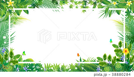 Exotic tropical leaf and frower border background  38880284