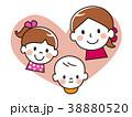 親子 笑顔 赤ちゃんのイラスト 38880520