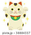 招き猫 両手上げ キラキラ 38884337