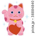 ピンクの招き猫 ハート キラキラ 38884840