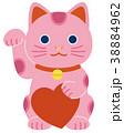 ピンクの招き猫 ハート キラキラ無し 38884962