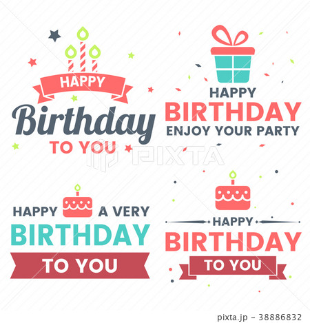 happy birthday vector logo for bannerのイラスト素材 38886832 pixta