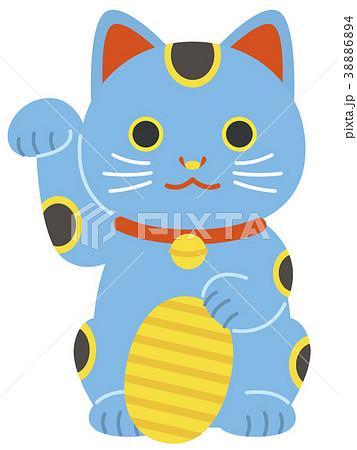 青い招き猫 小判 38886894