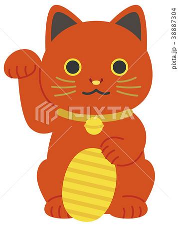 赤い招き猫 小判 38887304