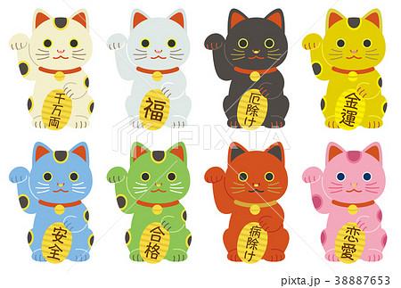 招き猫 縁起物 小判文字有り 38887653