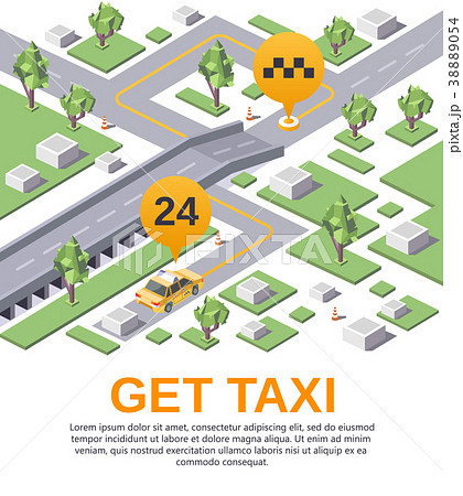 vector get taxi application advertising templateのイラスト素材
