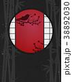 丸窓 竹林 ウグイスのイラスト 38892030