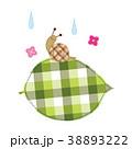 葉っぱ パッチワーク風 かたつむりのイラスト 38893222