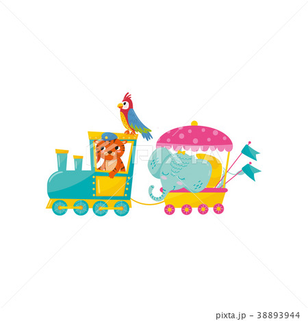 Cartoon animals characters traveling by train 38893944