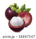 Mangosteen. Whole, half and empty rind isolated 38897547