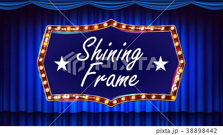 Gold Frame Light Bulbs Vector. Blue Background 38898442
