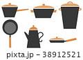 北欧風キッチン鍋アイコン 38912521
