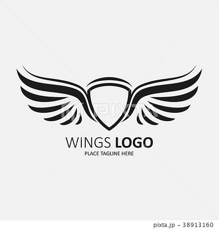 winged shield black templateのイラスト素材 38913160 pixta