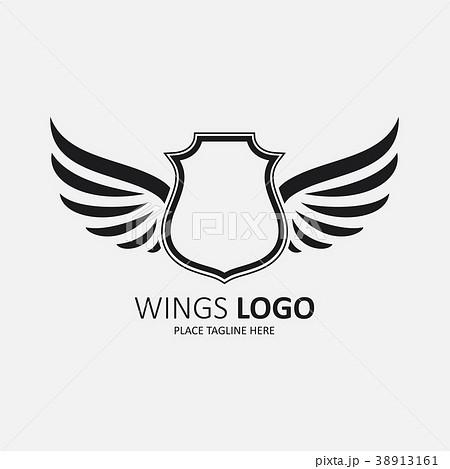 winged shield black templateのイラスト素材 38913161 pixta