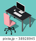 Isometric concept of workplace with computer 38928945