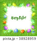 Vector frame of Easter eggs and green grass 38928959