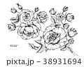 フローラル モノクロ 白黒のイラスト 38931694