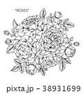 フローラル モノクロ 白黒のイラスト 38931699