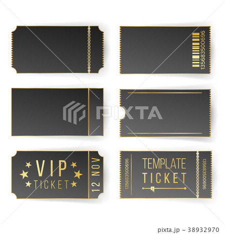 vip ticket template vector empty black ticketsのイラスト素材