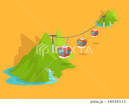 maokong mountain cableway in taiwan graphic iconのイラスト素材