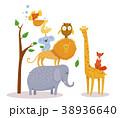 ゾウ 象 ライオンのイラスト 38936640