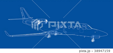 Airplane blueprint. Vector 38947159