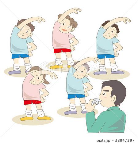 体育の授業(先生と生徒) 38947297
