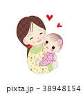 ママ 親子 ハートのイラスト 38948154