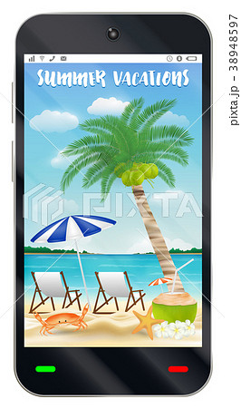 smartphone with summer vacation sand beach screen 38948597