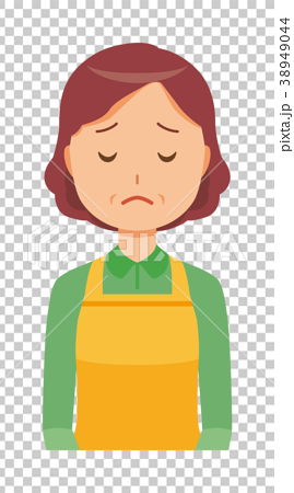 Middle-aged housewife with apron apologizes 38949044