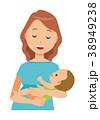 グリーンの服を着た妊婦が赤ちゃんを抱っこしている 38949238