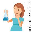 グリーンの服を着た妊婦が三角フラスコを持っている 38949240
