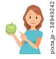 グリーンの服を着た妊婦が青リンゴを持っている 38949242