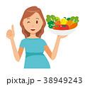 グリーンの服を着た妊婦が野菜を持っている 38949243