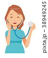 グリーンの服を着た妊婦が聴診器を持っている 38949245