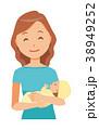 グリーンの服を着た女性が自分の赤ちゃんを抱っこしている 38949252