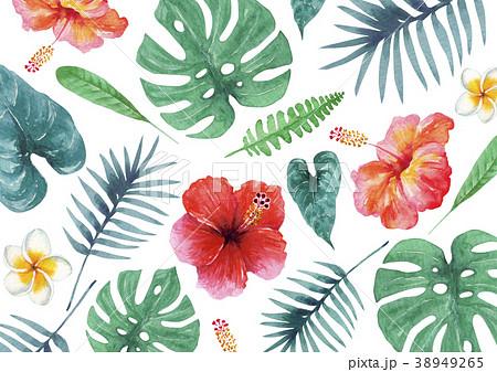 南国 植物 背景 テキスタイル 水彩 イラストのイラスト素材