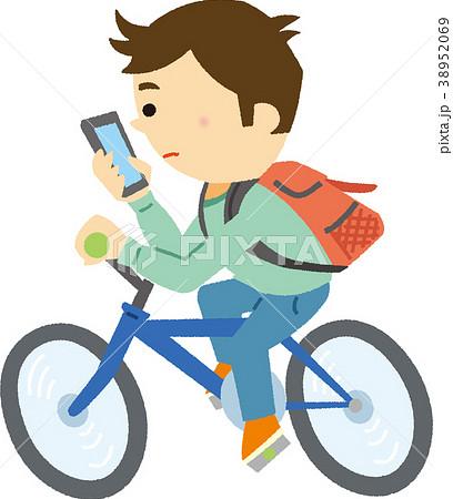 イラスト素材 スマホしながら自転車運転のイラスト素材