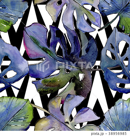 tropical leaves pattern in a watercolor style のイラスト素材