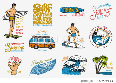 Surf badge and wave, palm tree and ocean. tropics 38959933