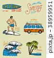 サーフィン バッジ 記章のイラスト 38959951