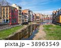 スペイン ジローナ オニャル川沿いの町並み エッフェル橋 38963549